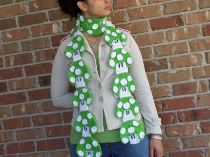 Custom 1-UP Mushroom Crochet Scarf Diy Mario Bros. Nintendo Mens / Womens Limited Edition